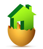 Conceptual house in an egg shell Royalty Free Stock Image