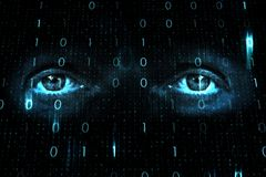 Conceptual human eyes on binary numbers background Royalty Free Stock Image