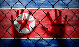 Conceptual human hands on North Korea flag. Conceptual prohibited area security fence with North Korea flag painted on the grunge background and human hands Stock Photos