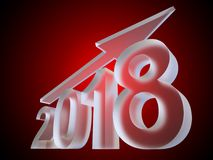 Conceptual 2018 ice glass year made of white frost. Conceptual 2018 ice or glass year made of white frost font on red gradient background. An abstract rich Royalty Free Stock Images