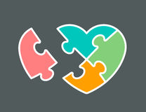 Conceptual icon of heart shaped jigsaw puzzle vector illustration