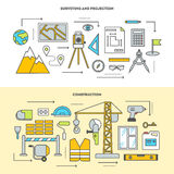 Conceptual icon set for construction in flat style. Vector illustration. Pre-construction survey, building design and construction. Building stages Stock Images