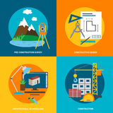 Conceptual icon set for construction, flat style. Vector Stock Photo