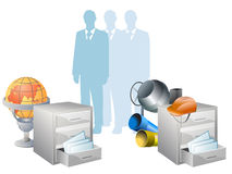 Conceptual icons directory businesses. Silhouettes of business people and icons cabinets with documents Royalty Free Stock Photos