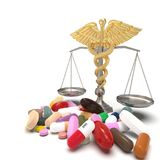 Conceptual idea of justice in pharmacy 3d rendering. Conceptual idea aboy pharmacy crime Royalty Free Stock Photos