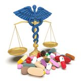 Conceptual idea of justice in pharmacy 3d rendering. Conceptual idea aboy pharmacy crime Royalty Free Stock Images