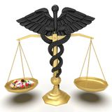 Conceptual idea of justice in pharmacy 3d rendering stock illustration