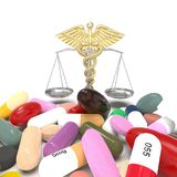 Conceptual idea of justice in pharmacy 3d rendering. Conceptual idea aboy pharmacy crime Stock Photos