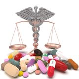 Conceptual idea of justice in pharmacy 3d rendering. Conceptual idea aboy pharmacy crime Stock Image