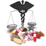 Conceptual idea of justice in pharmacy 3d rendering vector illustration