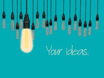 Conceptual idea of light bulbs hang on lite blue color background. Stock Images