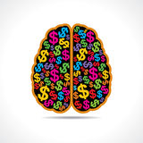 Conceptual idea: silhouette image of brain with do. Llar symbol  stock vector Royalty Free Stock Image