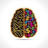 Conceptual idea-silhouette image of brain with dol Stock Images