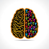 Conceptual idea  silhouette image of brain with rupee symbol Stock Image