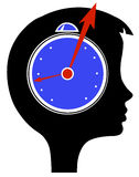 Conceptual illustration. Woman since hour in head Stock Images