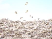 Conceptual illustration of the currency in cash on the sky backg Royalty Free Stock Photography