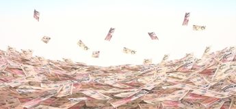 Conceptual illustration of the currency in cash on the sky backg Stock Images