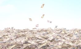 Conceptual illustration of the currency in cash on the sky. Background Stock Image