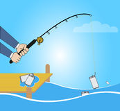 Conceptual illustration with fishing cartoon catching smartphone. Business Fishing Concept: Conceptual illustration with fishing cartoon catching smartphone in Stock Photography