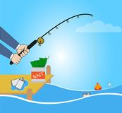 Conceptual illustration with fishing cartoon catching smartphone Stock Photo