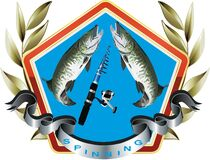 Conceptual illustration of a fishing-related sticker
