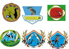 Conceptual illustration of fishing-related stickers