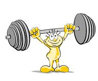 Little man lifting weights Stock Photos