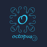 Conceptual illustration logo of  octopus  the blue frame Stock Photography
