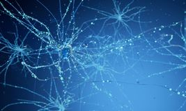 3d neuron cells. Conceptual illustration of neuron cells with glowing link knots in abstract dark space, high resolution 3D illustration 3d render 3d stock photography