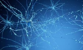 3d neuron cells. Conceptual illustration of neuron cells with glowing link knots in abstract dark space, high resolution 3D illustration 3d render Royalty Free Stock Images