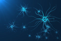 Conceptual illustration of neuron cells with glowing link knots. Synapse and Neuron cells sending electrical chemical. Signals. Neuron of Interconnected neurons Royalty Free Stock Photo