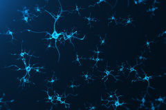 Conceptual illustration of neuron cells with glowing link knots. Synapse and Neuron cells sending electrical chemical Stock Images
