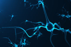 Conceptual illustration of neuron cells with glowing link knots. Synapse and Neuron cells sending electrical chemical. Signals. Neuron of Interconnected neurons Stock Image