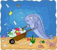 A conceptual illustration of the pollution of the world`s oceans with plastic waste. Tired fish with a wheelbarrow trying to clean the ocean floor of plastic