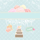 Conceptual illustration portraying love. Conceptual illustration of cake, decoration and clouds as roses Royalty Free Stock Image