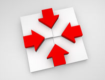 Conceptual illustration of red and white arrow Stock Image