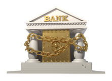 The safe in the bank, connected by a gold chain Stock Photo