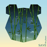 Conceptual illustration on the theme of protection of nature and animals with bamboo on the night sky in silhouette of  panda Royalty Free Stock Photo