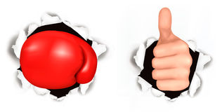 Conceptual illustration of thumb up. Stock Images