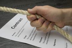 Conceptual illustration of tough hard or intense contract negoti Stock Photos