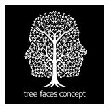 Faces Tree Icon. A conceptual illustration of tree growing in the shape of two faces in profile stock illustration