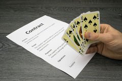 Conceptual illustration of winning or getting the contract royalty free stock image