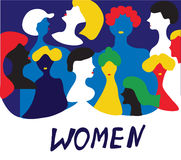 Conceptual illustration with women in group Royalty Free Stock Image