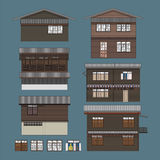 An Conceptual illustration of a wooden house in low rise residential in Bangkok, Thailand. royalty free stock image