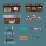 An Conceptual illustration of a wooden house in low rise residential in Bangkok, Thailand. Stock Photos