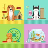 Conceptual illustrations of different pets. Dog, cat, hamster and fishes. Vet room pictures in cartoon style Royalty Free Stock Photo