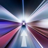 Conceptual image of asphalt radial and arrow Stock Photo