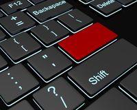Conceptual image. Backlit keyboard with black and red buttons Royalty Free Stock Photography