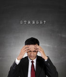 Conceptual image of business people and stress. Conceptual image of work stress. Young Asian businessman having depression with both hands holding his head, on Royalty Free Stock Images