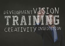 Conceptual image of business training concept. Against businessman writing in background royalty free stock photography